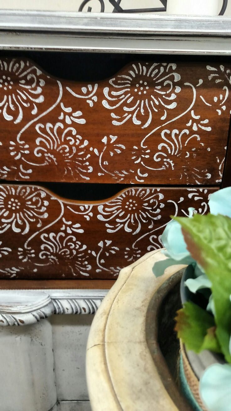 Inside bureau, used stamping roller chrysanthemum available at Artistic Painting Studio. Painted bureau #fluff #dixiebellepaint #weathered