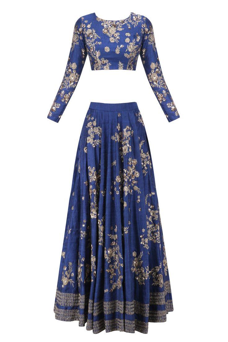 ASTHA NARANG | Navy zari and sequins floral motif lehenga set available only at Pernia's Pop Up Shop.