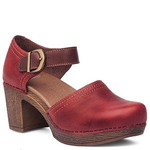 Dansko Darlene Full Grain Leather Red Shoes - HappyFeet.com