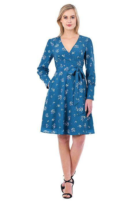 I <3 this Floral stripe print crepe wrap dress from eShakti