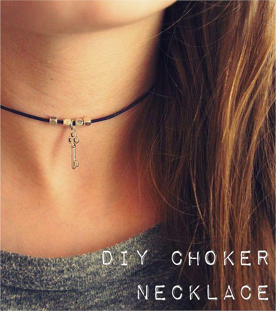 diy simple choker necklace 90s inspired diy ideas