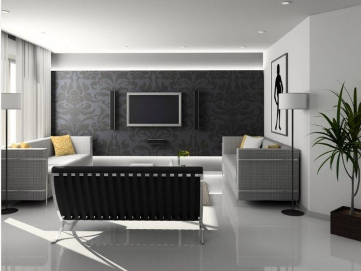 Living Room Interior Black And White Contemporary Ideas With Wall Color Curly Grey Wallpaper Also Mounted Tv Component Eves Alsoplaid Pattern