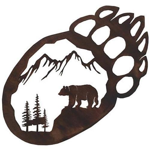 Bear Paw Metal Wall Art   Rocky Mountain Cabin Decor