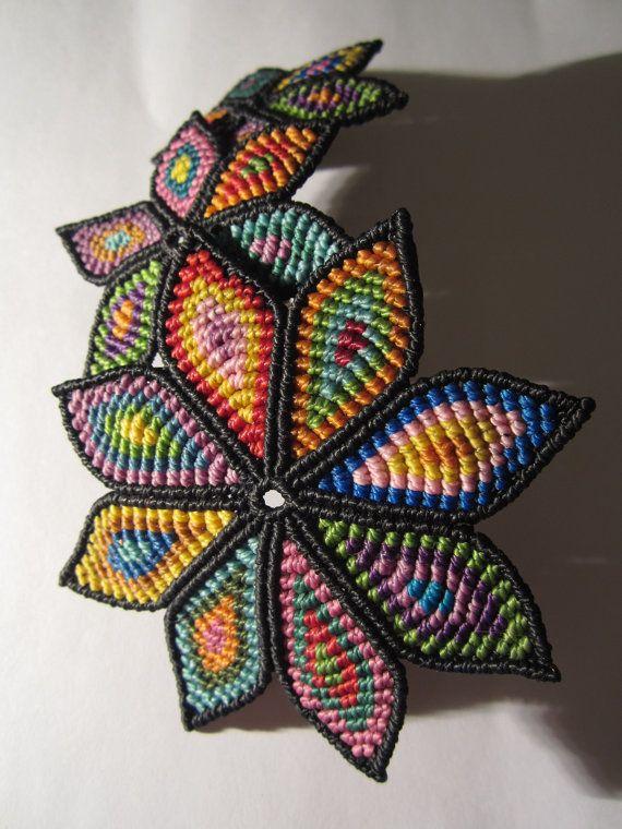 Big Flowers Hair Clip/Barrette Multicolored Macrame Handmade. $57,00, via Etsy.