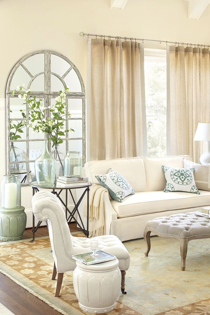 Like the curtains with ribbon band. For an even more open look, choose draperies that are either the same color or just a touch darker than the walls. The effect is modern, ope...