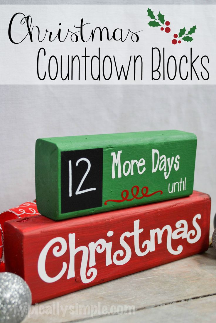 A great project to make with your Silhouette Cameo! Using wood blocks and vinyl, create this Christmas Countdown complete with a chalkboard for the numbers!