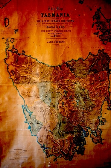 James Sprent map of Tasmania in 1859 published by J Walch & Sons, Hobart Town