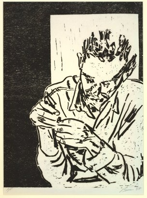 Tony Bevan, Threading, 1987. Woodcut. British Museum.