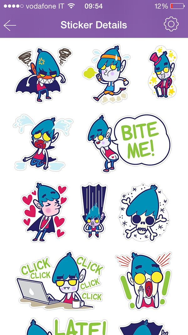 Vampire boy viber stickers set