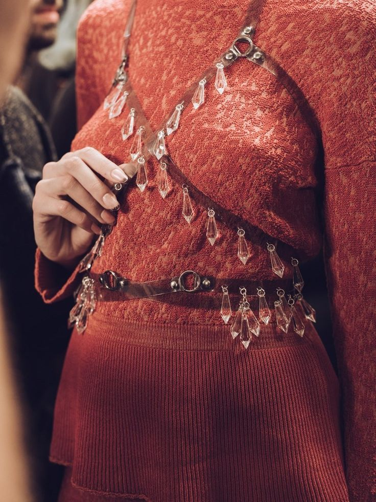 Vivienne Westwood SS16 backstage harness crystals