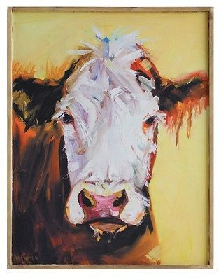 Art Paintings Mixed Media Collage: 24 Cows Face Canvas Art Print With Frame - Farmhouse Kitchen Decor Picture BUY IT NOW ONLY: $34.99