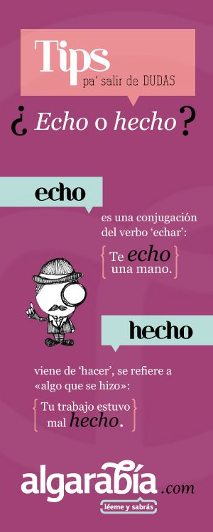 hecho de hacer y echo de echar ✿ Spanish Learning/ Teaching Spanish / Spanish Language / Spanish vocabulary / Spoken Spanish ✿ Share it with people who are serious about learning Spanish!