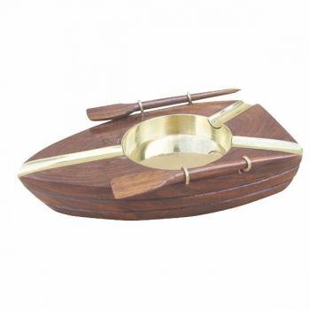 Maritimer Aschenbecher aus Holz und Messing in einem schönen Ruderboot Design.