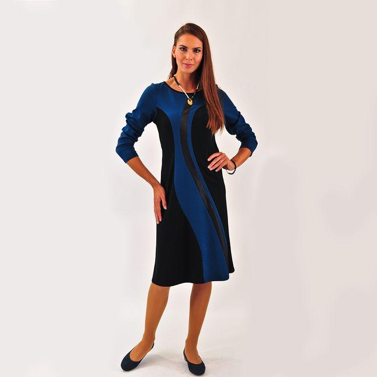 Φόρεμα με δερματίνη σε πετρόλ