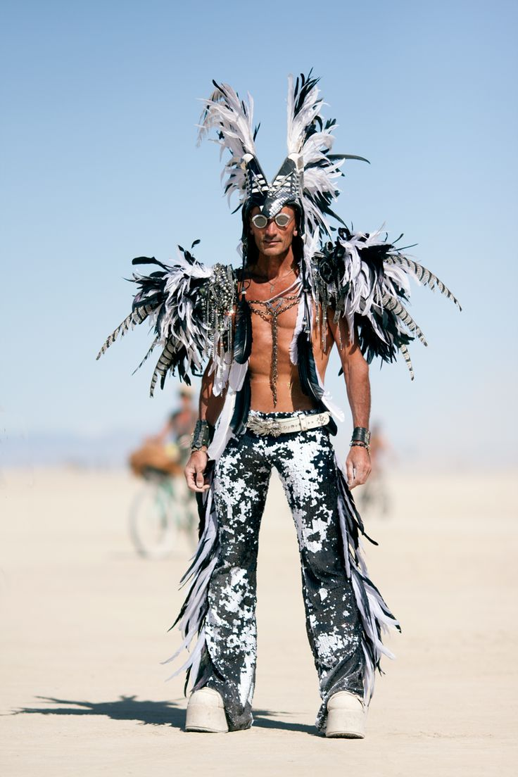 amazing-costumes-at-the-Playa--Burning-Man-2015-Carnival-of-Mirrors-Layne-Robert-feather-warrior-outfit-close-up