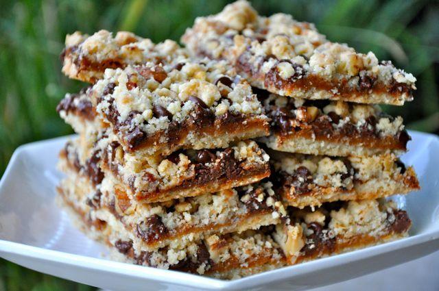 caramel chocolate walnut crumb bars | recipes | Pinterest