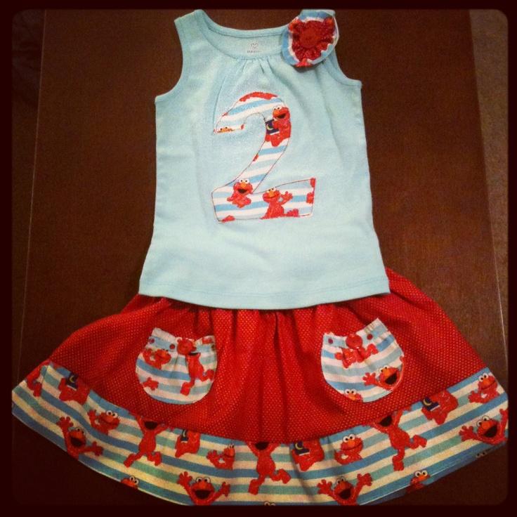 Elmo Birthday Outfit  Elmo Birthday Shirt and Market Skirt