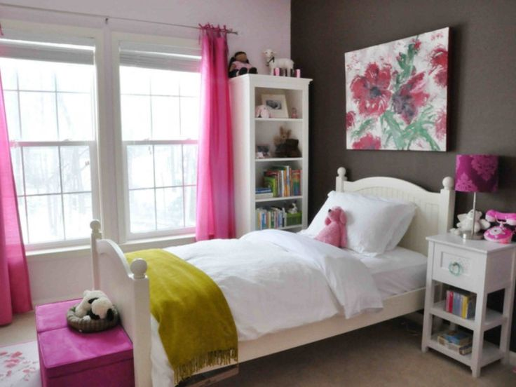 Girls Bedroom Ideas For Teen Bedroom Decorating With Black And White Wall  Paint Color Decorated With Pink Sheer Curtain Use White Single Platform Bed  ...