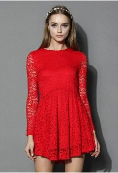 Tempting Red Lace Flare Dress - Retro, Indie and Unique Fashion