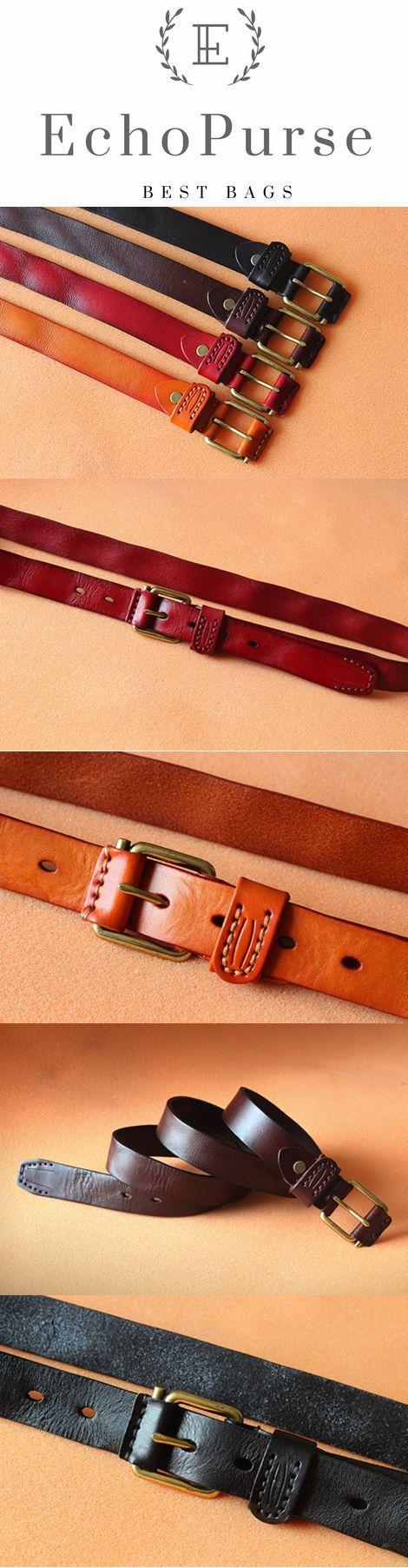 Handmade Suture Vegetable Tanned Leather Belt, Waistband PPM001