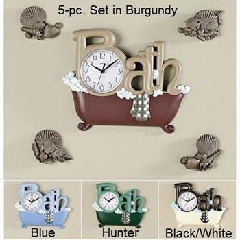 Bath clock 5 piece set bath clock burgundy in spring big for Bathroom 5 piece set