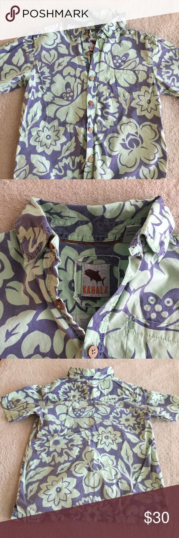 Boys 6-7 Hawaiian shirt Great quality boys Hawaiian shirt.  Only worn once or twice.  Besides needing a good ironing, no signs of wear.  Wish it still fit my son. Kahala Shirts & Tops Button Down Shirts