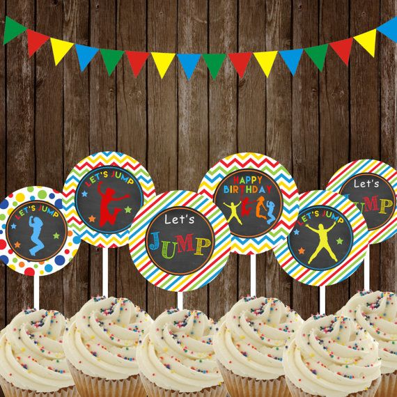 Jump Cupcake Toppers ,Jump Party Printable, Jump Bounce House  DIY, INSTANT DOWNLOAD Printable,Bounce house toppers,Trampoline…