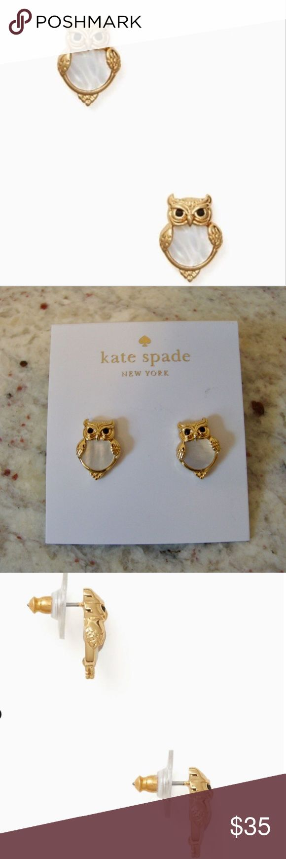 """Kate Spade Into The Woods Owl Stud Earrings Kate Spade Into The Woods Owl Stud Earrings Gold & Mother-of-Pearl it's always a good time to add a little shine. MATERIAL bronze and gold plated metal with enamel coating mother of pearl and glass stones FEATURES 14-karat gold filled posts style # o0ru1475 DETAILS drop length: 0.5"""" width: 0.5"""" weight: 3.03g kate spade Jewelry Earrings"""