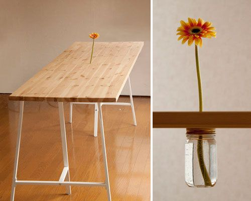 Fun ide, could be used on smaller desk for pencils, pens etc also. Table with vase.