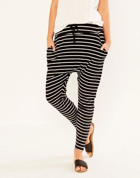 Striped Weekender Pant Black/milk