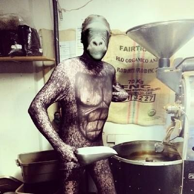 Our master roaster have fun too ! LOL #Halloween #Coffee - via www.facebook.com/cafevrac