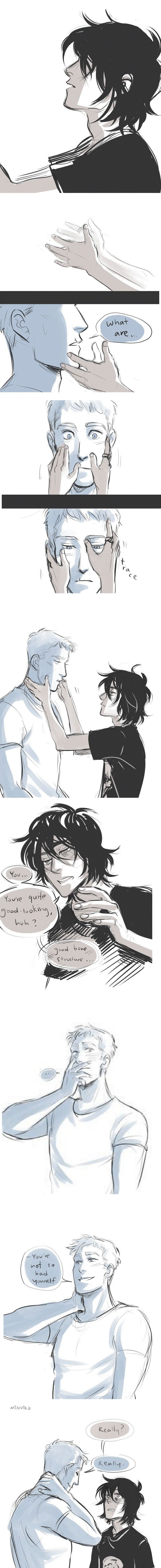 Blind!Nico Solangelo- aww<<its actually jason and nico not will and nico you can see jasons scar on his lip