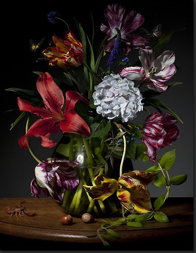 Beautiful floral still life by Dutch photographer Bas Meeuws, very old masters.