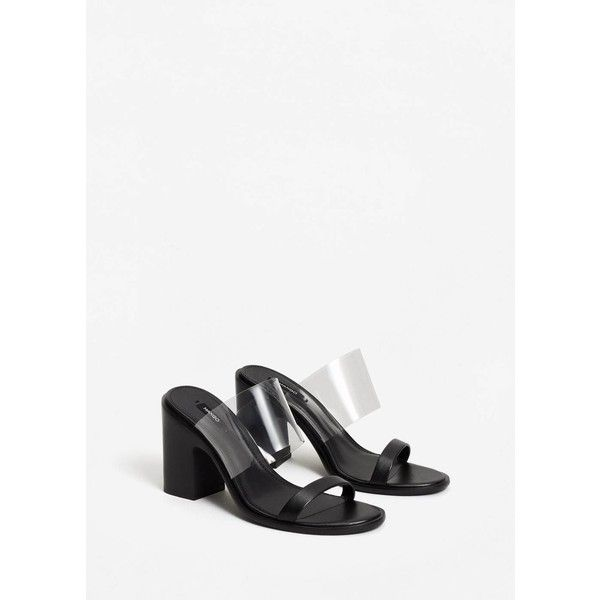 MANGO See-through straps sandals (290 QAR) ❤ liked on Polyvore featuring shoes, sandals, black, high heel shoes, black strappy shoes, strappy shoes, mango sandals and strap high heel sandals