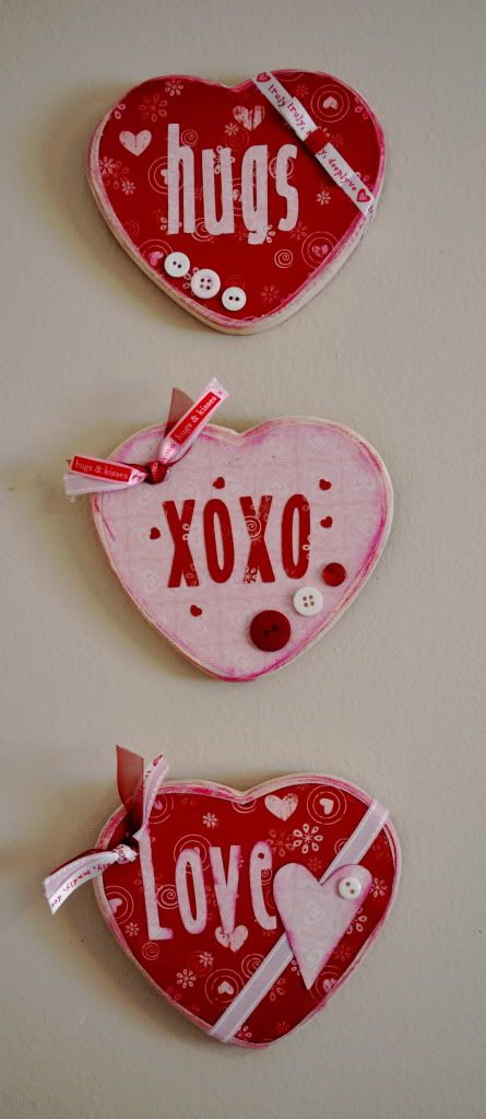 Valentine hearts- would be cute joined by ribbon with a bow at the top for hanging