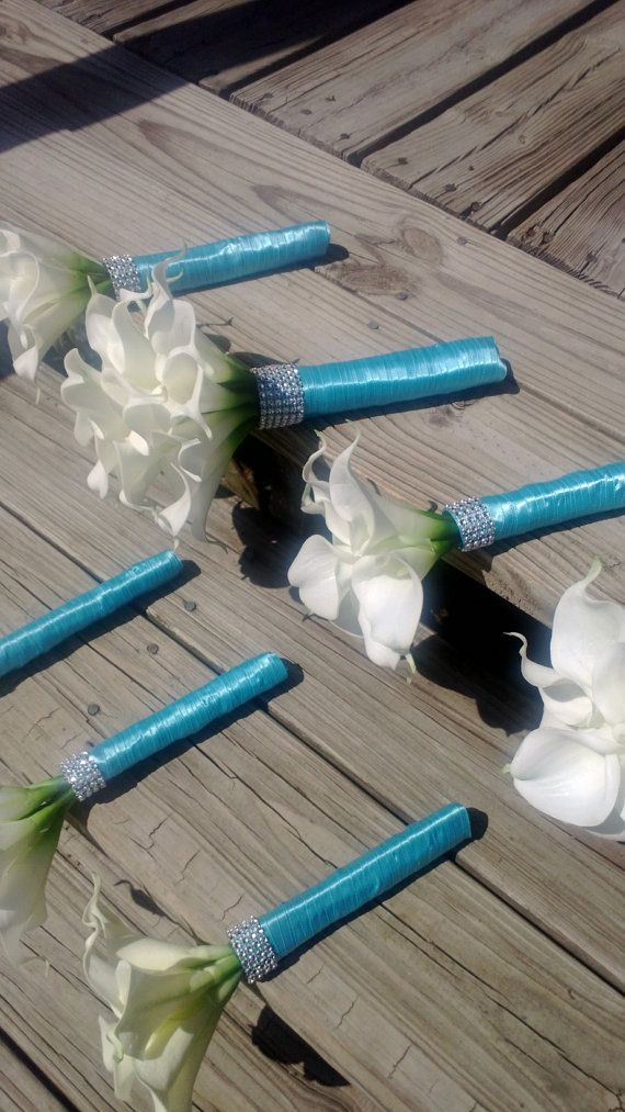 Silk Bridal Bouquet Real Touch White Calla by SilkFlowersByJean, $75.00…