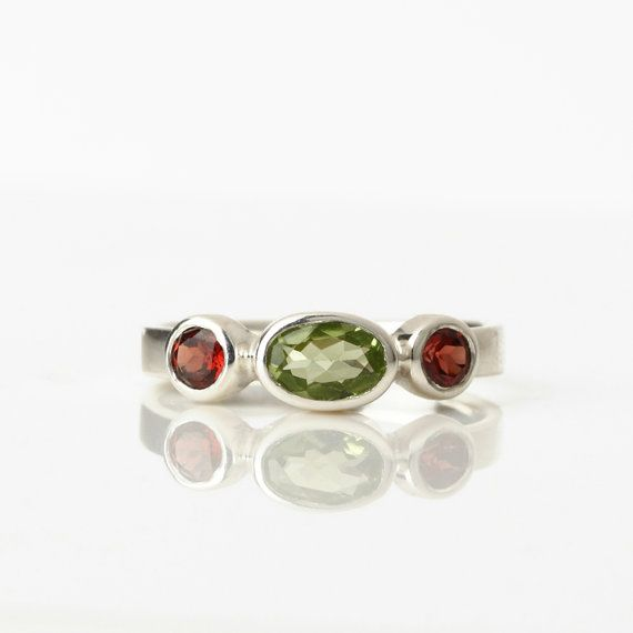 Three stone ring sterling silver peridot ring red by SigalGerson