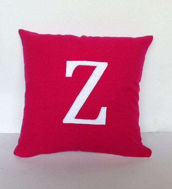 Perfect Monogram gift for her, Dark pink hot pink Monogrammed Pillows 16 inches Alphabet Pillow-  letter cushions