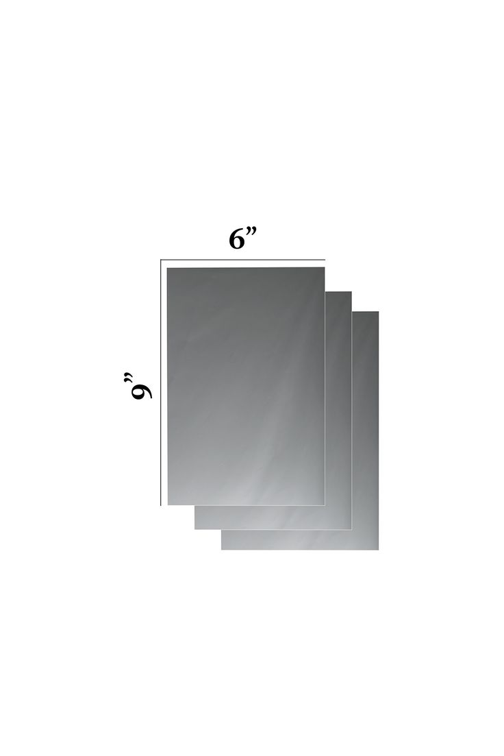 "Flexible Mirror Sheets 6"" X 9"" Soft Non Glass Cuttable Craft Plastic 3 sheets. Mirror sheet adhesive peel the back sticker to stick any were back An attractive addition to any decor, this 6"" x 9"" Silver Trim Mirror is a useful size and gives a clear reflection. 3 Mirrored sheets,Clear sheet protector Multiple creative uses Rectangle shape. ""PEEL OFF PROTECTIVE COVER SHEET"" It works with cars, motorcycles, bathroom mirrors, dresser mirrors and other household furniture.toys or crafts…"