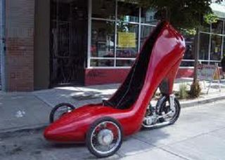 Red shoe motorcycle