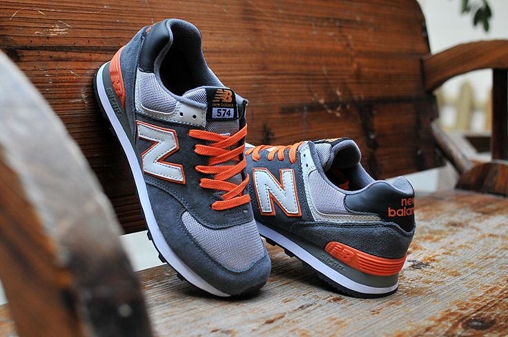 015 New Balance 574 Classic Jogging Shoes For Men Grey / Orange