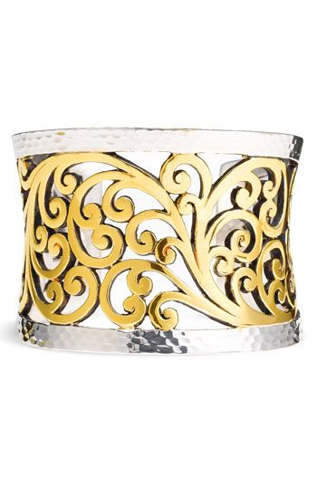 Lois HIll Hammered Silver and Gold Plated Swirl Cuff Bracelet
