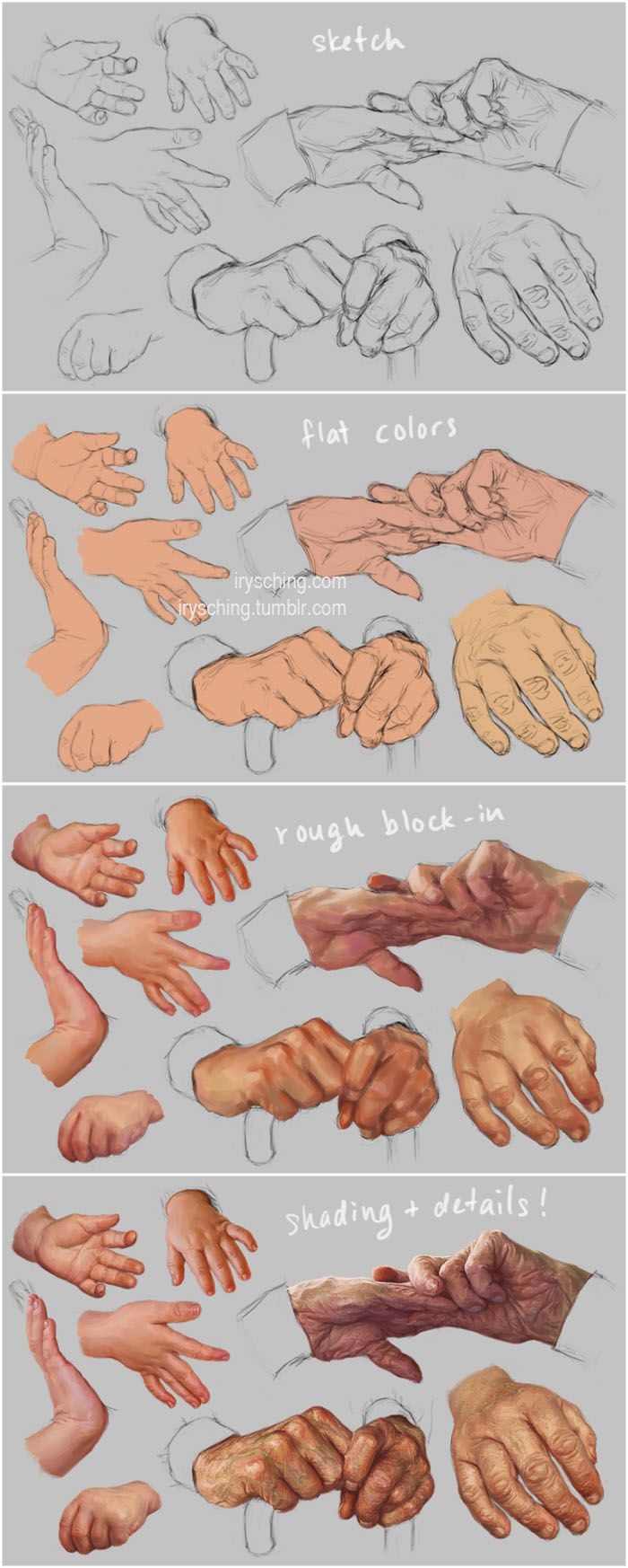 Hand Study 3 - Young and Old - Steps by irysching.deviantart.com on @deviantART