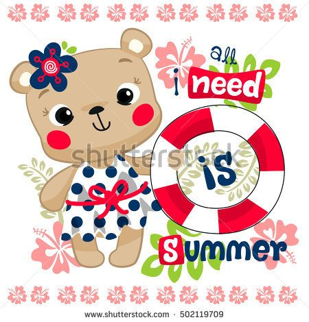 """Cartoon cute teddy bear girl holding life ring with text """"all i need is summer"""" and tropical plant background illustration vector."""