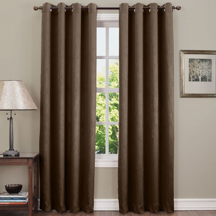 Sun Zero Hanson Room Darkening Curtain, Brown