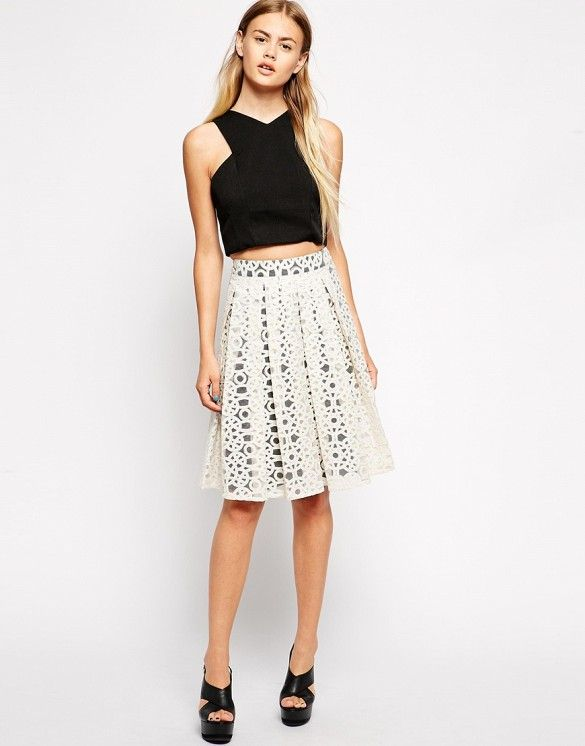 You'll be loving embroidered skirts this holiday season. // Asos Premium Midi Skirt in Embroidered Organza in White