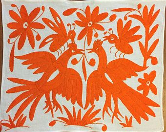 "Hand embroidered Otomí placemat (approx.17"" x 13"") - orange"