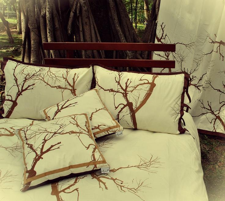 """Hagakure Hogar   Set Duvet Cover  Estampado a Mano  Diseño """"Entre Ramas"""""""