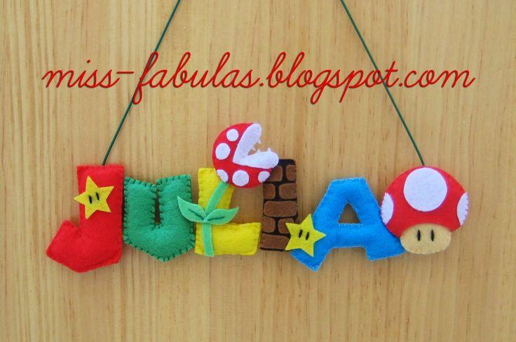Baby name felt SUPER MARIO BROS - Nombre bebe SUPER MARIO BROS en fieltro CONTACT: carmenmissfabulas@gmail.com
