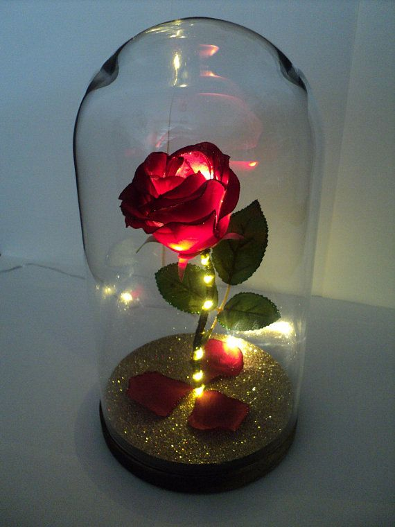 Large Beauty /& The Beast Inspired /'ENCHANTED ROSE/' GLASS LIGHT DOME Wedding etc